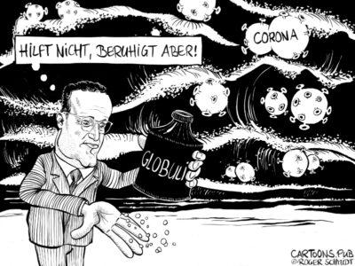 Karikatur, Cartoon: Jens Spahn - Mit Globuli gegen Corona © Roger Schmidt