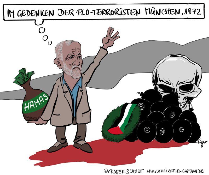 Karikatur, Cartoon: Jeremy Corbyn, der Antisemit und seine Muslimbruderschaft, © Roger Schmidt
