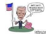 "Karikatur, Cartoon: Joe Bidens Antrittsrede ""Unity"" © Roger Schmidt"