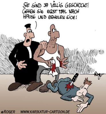 Karikatur, Cartoon: Justitia, © Roger Schmidt