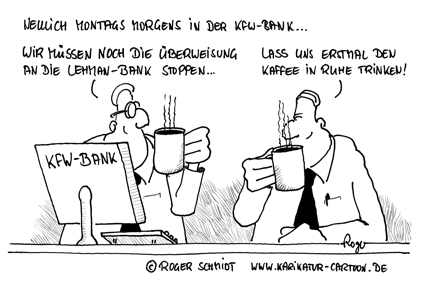 Karikatur, Cartoon: Kaffeepause, © Roger Schmidt