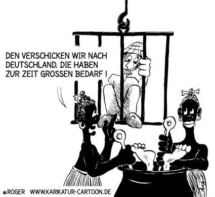 Karikatur, Cartoon: Versand zum Kannibalen von Rotenburg, © Roger Schmidt