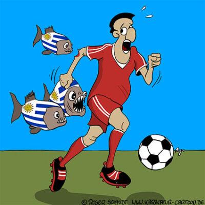 Karikatur, Cartoon: Kannibalismus beim Fußball, © Roger Schmidt