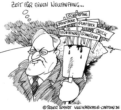 Karikatur, Cartoon: Kanzlerkandidat Steinmeier, © Roger Schmidt