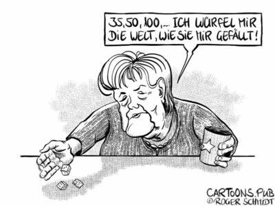 Karikatur, Cartoon: Merkels Inzidenzwerte © Roger Schmidt