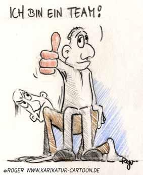 Karikatur, Cartoon: Karriere im Team, © Roger Schmidt