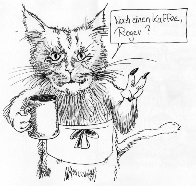 Karikatur, Cartoon: Katze mit Kaffee © Roger Schmidt