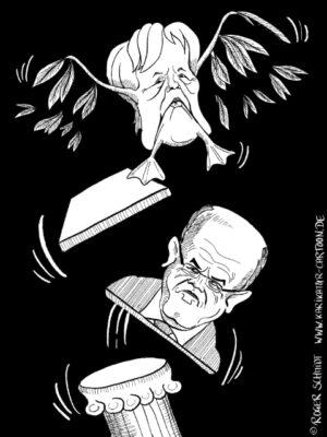 Karikatur, Cartoon: Kauders Abgang, © Roger Schmidt