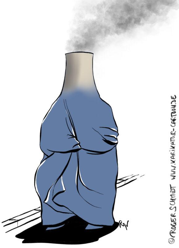 Karikatur, Cartoon: Klimakatastrophe, © Roger Schmidt