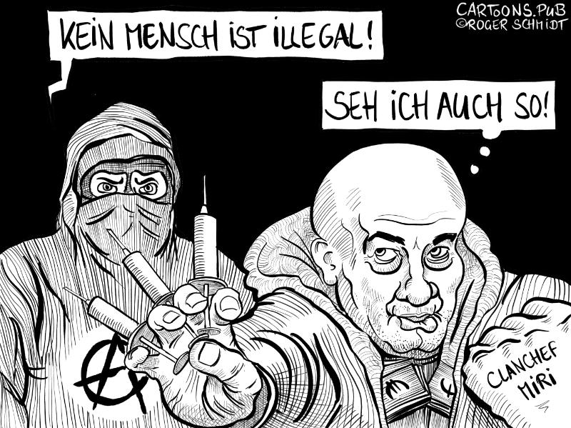 Karikatur, Cartoon: Kein Mensch ist illegal © Roger Schmidt