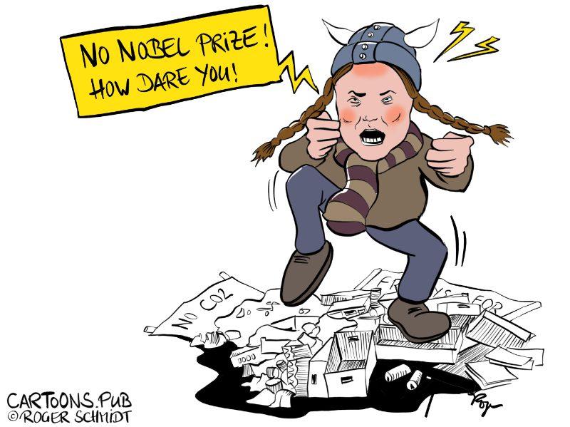 Karikatur, Cartoon: kein Friedensnobelpreis für Greta Thunberg © Roger Schmidt