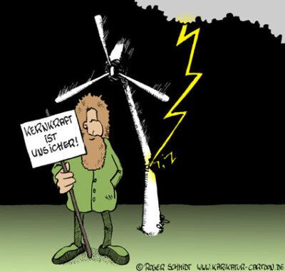 Karikatur, Cartoon: Kernkraft, © Roger Schmidt