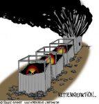 Karikatur, Cartoon: Kettenreaktion, © Roger Schmidt