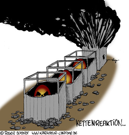 Karikatur, Cartoon: Kettenreaktion, © Roger Schmidt