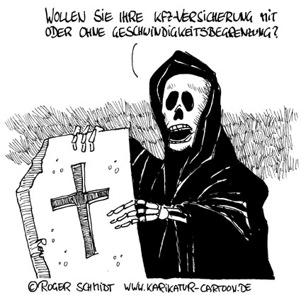 Karikatur, Cartoon: Kfz-Versicherung vergleichen, © Roger Schmidt