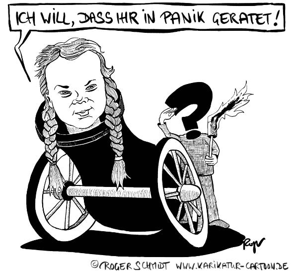 Karikatur, Cartoon: Klima-Greta in Panik!, © Roger Schmidt