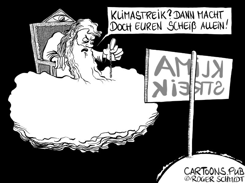 Karikatur, Cartoon: Klimastreik © Roger Schmidt