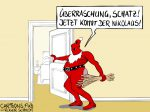 Karikatur, Cartoon: Knecht Nikolaus © Roger Schmidt