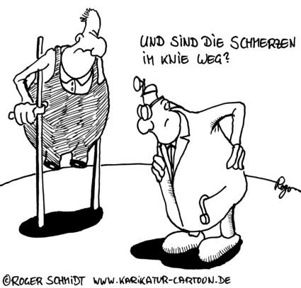 Karikatur, Cartoon: Knieschmerzen, © Roger Schmidt