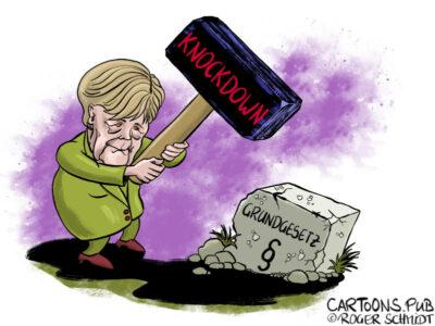 Karikatur, Cartoon: Knockdown statt Lockdown © Roger Schmidt