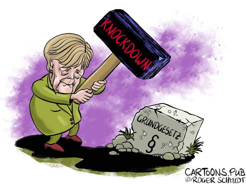 Karikatur, Cartoon: Knockdown statt Lockdown © Roger Schmidt