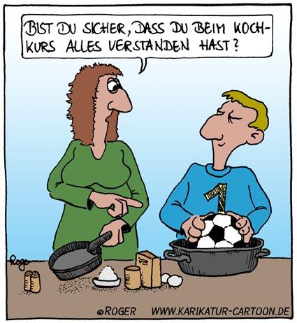 Karikatur, Cartoon: Kochkurs, © Roger Schmidt