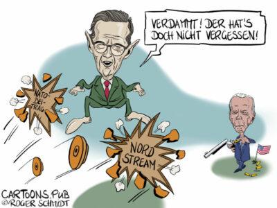 Karikatur, Cartoon: Konflikt Deutschland-USA Natobeitrag Nord-Stream2 © Roger Schmidt
