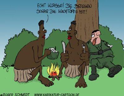 Karikatur, Cartoon: Kongo-Einsatz, © Roger Schmidt