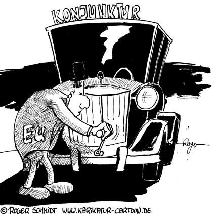 Karikatur, Cartoon: Konjunkturprogramm, © Roger Schmidt