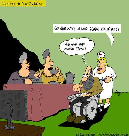 Karikatur, Cartoon: Konsole im Altersheim, © Roger Schmidt
