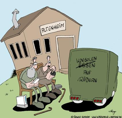 Karikatur, Cartoon: Konsolen auf Rädern, © Roger Schmidt