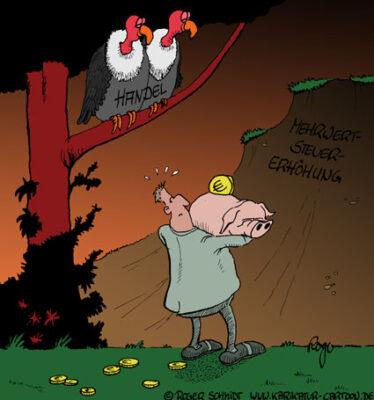 Karikatur, Cartoon: Konsum, © Roger Schmidt