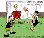 Karikatur, Cartoon: Kopfball, © Roger Schmidt