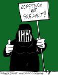 Karikatur, Cartoon: Steigern Kopftuchmädchen das Wirtschaftswachstum?, © Roger Schmidt