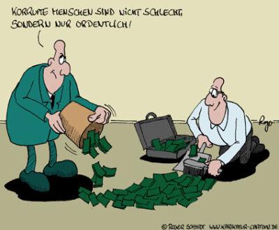 Karikatur, Cartoon: Korruption, © Roger Schmidt