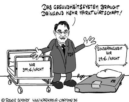 Karikatur, Cartoon: Krankenbett mit Krankenpflege, © Roger Schmidt