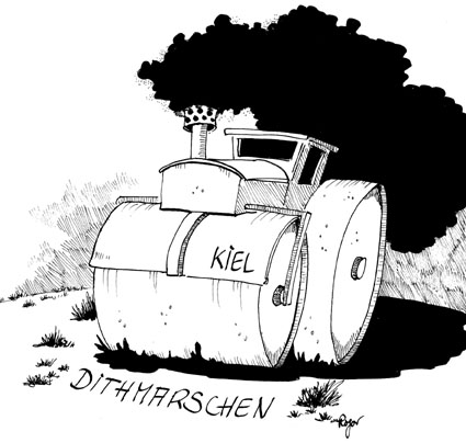 Karikatur, Cartoon: Dithmarschen Kreisreform, © Roger Schmidt