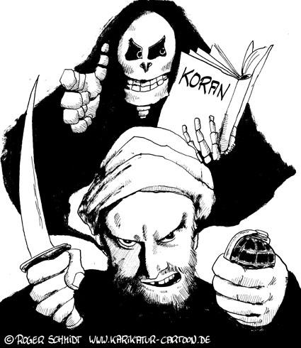 Karikatur, Cartoon: Krieg und Religion, © Roger Schmidt