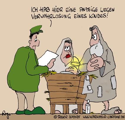 Karikatur, Cartoon: Krippe, © Roger Schmidt