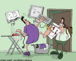 Karikatur, Cartoon: Küche und Karriere, © Roger Schmidt