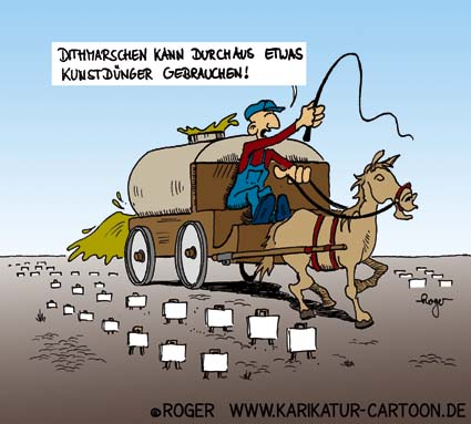 Karikatur, Cartoon: Kunst in Dithmarschen, © Roger Schmidt