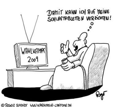 Karikatur, Cartoon: Langeweile vor der Bundestagswahl 2009, © Roger Schmidt