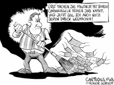 Karikatur, Cartoon: Langzeitarbeitslose durch Coronaregeln © Roger Schmidt