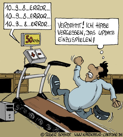 Karikatur, Cartoon: Training auf dem Laufband, © Roger Schmidt