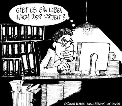 Karikatur, Cartoon: Leben nach der Arbeit, © Roger Schmidt