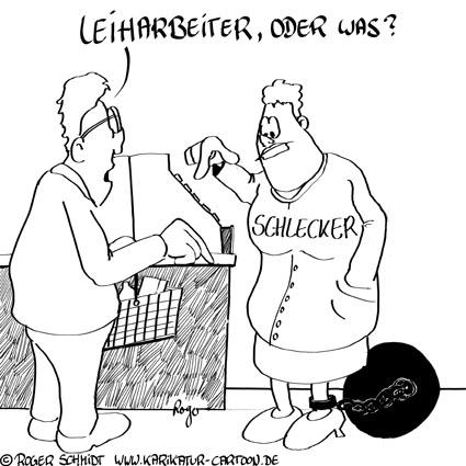 Karikatur, Cartoon: Mindestlohn für Leiharbeiter, © Roger Schmidt