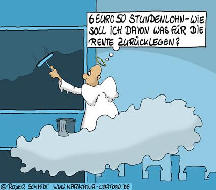 Karikatur, Cartoon: Lohndumping stinkt zum Himmel, © Roger Schmidt