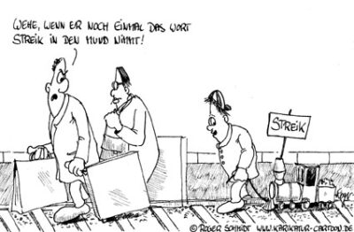 Karikatur, Cartoon: Lokführerstreik, © Roger Schmidt