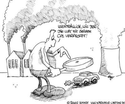 Karikatur, Cartoon: Luftverschmutzung, © Roger Schmidt