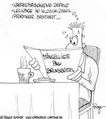 Karikatur, Cartoon: Mängelliste Brunsbüttel, © Roger Schmidt